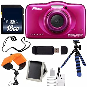 Nikon COOLPIX S33 Digital Camera (Pink) International Model No Warranty + 16GB Card + Floating Strap + 12-Inch Flexible Tripod + USB Reader + Memory Card Wallet + Cap Keeper