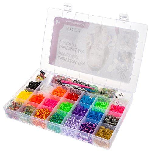 Ultrakidz Loom - Kit de iniciación surtido de 5400 gomas de colores, incluye agujas de ganchillo y colgantes