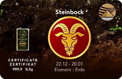 Goldbarren 0,5 g 0,5g Gramm Feingold 999.9 Nadir Gold LBMA Sternzeichen Steinbock