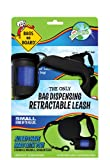Bags on Board Retractable Dog Leash with Built-in Bag Dispenser, Small, Black, 45 Bags