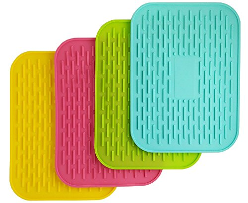 """6"""" X 8"""" Silicone Pot Holder, Heat Insulated Pad, Trivet Mat, Cup Drying Mat , Tableware Pad Coasters, Baking Gadget- Waterproof, Non-slip, Trivet, Tableware Pad Coasters, Set of 4 By UHQ"""