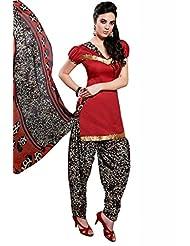 Red Cotton Floral Print Salwar Kameez Dress Material