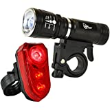 SafeCycler LED Bike Lights - Super Bright Bicycle Head And Tail Light Set for Your Safety - Flashing Mode Grabs Motorists Attention- Ride Safer Today
