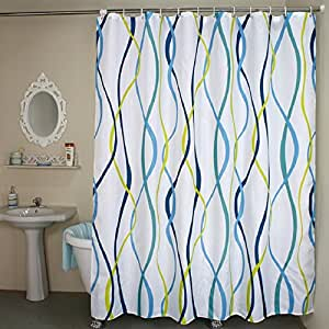Striped Fabric Shower Curtain Extra Wide White Blue Yellow