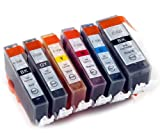 6 Canon PGI550 / CLI551 Compatible Printer Ink Cartridges - NEW WITH CHIP INSTALLED NO FUSS - for CANON PIXMA MG6350. (Multipack contains 1x PGI-550BK, 1x CLI-551C, 1x CLI-551M, 1x CLI-551Y, 1x CLI-551BK 1x CLI-551GY) High Capacity XL Inks.