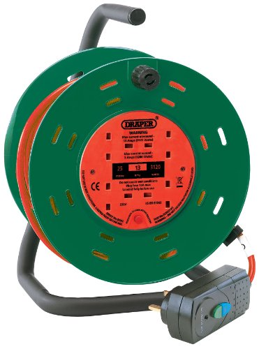 Draper 26341 25M 230V 4-Socket Garden Cable Reel with RCD Adaptor