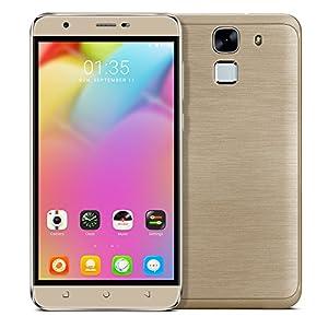 [New Release]PADGENE® Unlocked L3 Fingerprint 3G Smartphone, 5.5 inch HD Screen(1280*720) Android 6.0 Mobile Phone---MTK6580 Quad Core 1.3GHz,1GB RAM + 8GB ROM, Dual Sim Dual Standby, Dual Camera(2.0M/5.0M),WIFI GPS G-Sensor SIM-Free 2G/3G Smartphone Phablet (Gold)