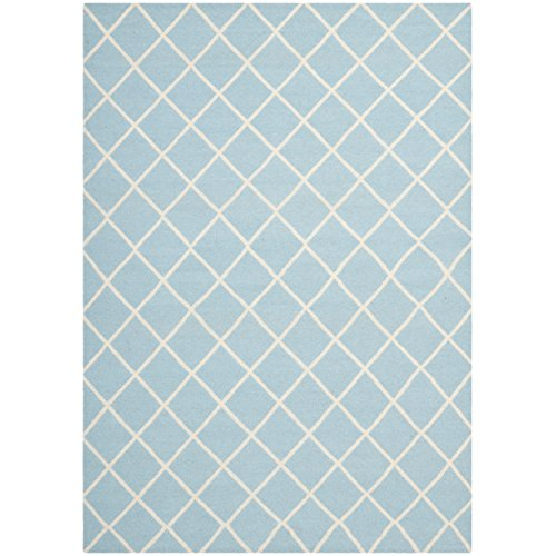 Safavieh Dhurries Collection DHU565B Hand Woven Light Blue and Ivory Wool Area Rug, 8 feet by 10 feet (8' x 10')