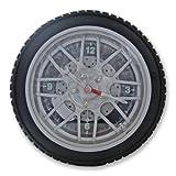 Homescapes Horloge murale Pneu, en plastique, 26 cm de diamètre, noir argent...