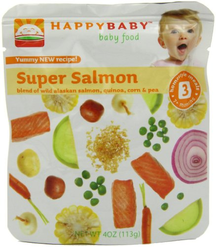 Baby / Child Happy Baby Organic Baby Food 3 Yummy Homestyle Meals 4 Ounce Pouches Pack Of 16 - Super Salmon Infant