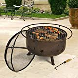 Sunnydaze Cosmic Fire Pit with Cooking Grill, 30 Inch Diameter
