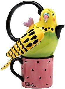 Appletree 7-1/4-Inch Ceramic Yellow Parakeet Tea For One