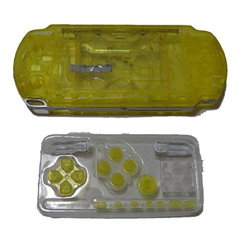 PSP 3000 用 外装 交換 ケース ・ ボタン & 液晶 保護 シート & ドライバー フル セット (イエロー)