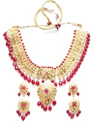 Gold plated polki necklace with china ruby stone NSR0005