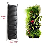 Super More 7 Pocket Vertical Garden Plant Grow Container Bags, Living Wall Hanging Planter, Eco-friendly Green Field Pot for Herbs Strawberries Flowers with Instruction