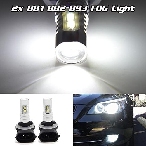Partsam 2Pcs White Samsung 2323 SMD 881 899 893 LED Bulbs Fog/Driving lights Lamp 10W 6000K (Fog Lights For 94 Mustang Gt compare prices)