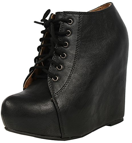 Soda Women's Jello Faux Leather Hidden Platform Wedge Cover Ankle Bootie , Black, 7.5 M US