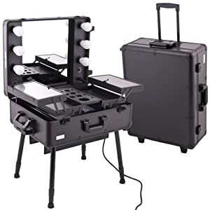 Amazon.com: Black Pro Studio Aluminum Professional Makeup Artist Rolling Wheeled Organizer Trolley Cosmetic Train Case Table W/lights: Beauty