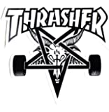 Thrasher Magazine Skate Goat Pentagram Skateboard Sticker 9 x 10cm White/Black