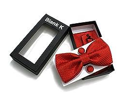 Men\'s Pre-Tied Bowtie Cufflinks Pocket Square Set for Men Tuxedo Suit Set