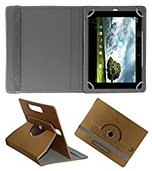 Acm Designer Rotating 360° Leather Flip Case For Asus Eee Pad Transformer Tf300tg Tablet Stand Premium Cover Golden