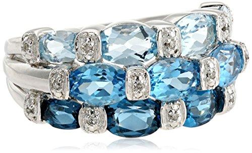 Sterling Silver London Blue Topaz, Swiss Blue Topaz, Light Blue Topaz and Diamond Ring, Size 7