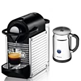 Nespresso C60 Pixie Chrome Espresso Maker, with Aeroccino Plus
