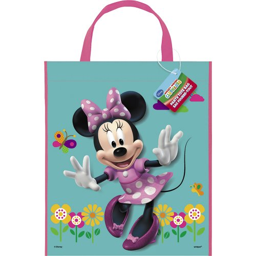 "Large Plastic Minnie Mouse Favor Bag, 13"" x 11"" - 1"