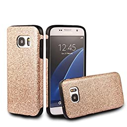 Galaxy S7 Case,Inspirationc® Beauty Luxury Hybrid Glitter Bling Soft Shiny Sparkling with Crystal Rhinestone Cover Case for Samsung Galaxy S7--Gold
