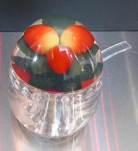 Pot à confiture avec cuillère-Couvercle décoré Fraise