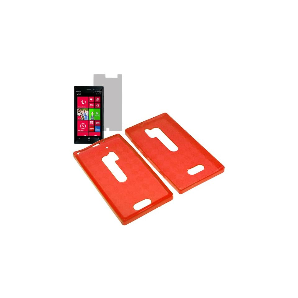 HR TPU Sleeve Gel Cover Skin Case for Verizon Nokia Lumia 928 + Fitted Screen Protector Red Checker