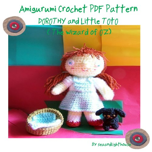 Dorothy and Little toto (the wizard of Oz) -Amigurumi Crochet Pattern