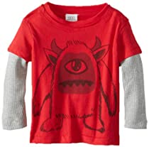 egg by susan lazar Baby-Boys Newborn Monster Graphic Tee, Red, 3-6 Months