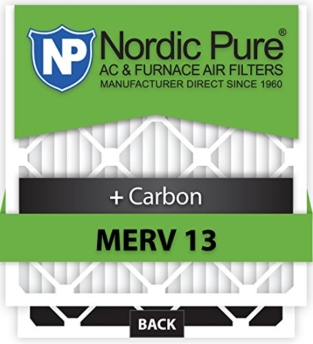 Nordic Pure 20x25x5 Honeywell Replacement MERV 13 Plus Carbon AC Furnace Air Filters, Quantity 4
