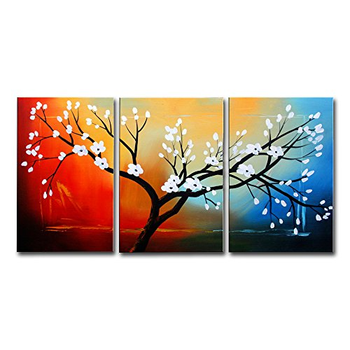 fly-spray-3-piece-100-hand-painted-oil-paintings-panels-stretched-framed-ready-hang-white-flower-tre