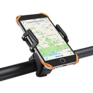 Bike Mount Bicycle Holder, Taotronics Universal Cradle Clamp for iOS Android Smartphone GPS other Devices, with One-button Released, 360 Degrees Rotatable, Rubber Strap