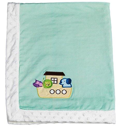 Noah's Ark Mint Embroidered Minky Dot Blanket