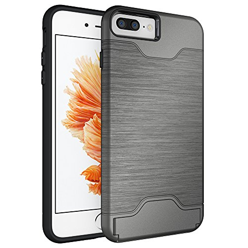 OnPrim Brushed Dual Layer Hard PC Flexible Rubber Card Slot Stash Protection Case With Kiskstand For iPhone 7 Plus 5.5 Inth Grey
