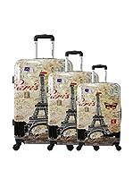 ZIFEL Set de 3 trolleys rígidos (Multicolor)