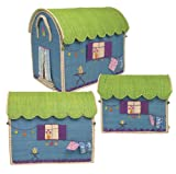 Set of 3 Storage Boxes Gypsy Caravan in Raffia