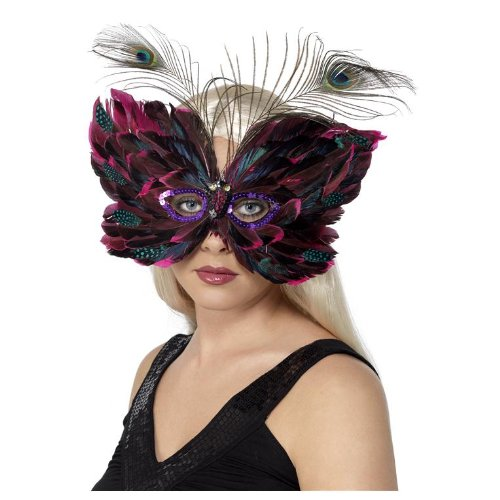 Venetian Eyemask Adult Costume Accessory Butterfly with Peacock Feathers