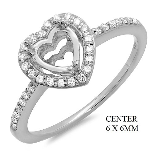 0.22 Ctw 14K White Gold Diamond Halo Engagement Ring Settng For 6X6Mm Heart