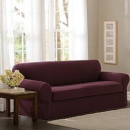Maytex Pixel Stretch 2-Piece Slipcover Sofa, Wine