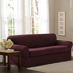 Maytex Pixel Stretch 2-Piece Slipcover Sofa, Wine