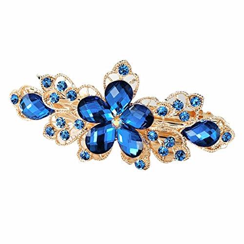 Cristallo Di Moda Strass Fiore Clip Di Tornanti Fermaglio Dei Capelli Copricapo Donna - Blu