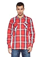Cross Jeans Camisa Estamapda (Rojo / Blanco)
