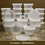 Delitainer 12 oz. Deli Food Containers w/ Lids - Pack of 40 - Food Storage - By: Newspring