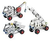 Charming Crew 3in1 137ピース 金具 金属 組立てキット 工事用車両 3種類 3D立体パズル 6歳から 幼児 子ども キッズ 知育 おもちゃ 誕生日 プレゼント ステンレス レゴ ブロック 組み立て 創意工夫 自由課題 夏休み 宿題 三車種