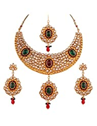 Variation Red & Green Kundan Jadau Bridal Jewellery Set With Headpiece For Women