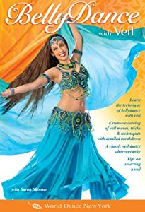 Belly Dance with Veil, taught by Sarah Skinner: Open level bellydance classes, Belly dance instruction, Veil belly dancing how-to.